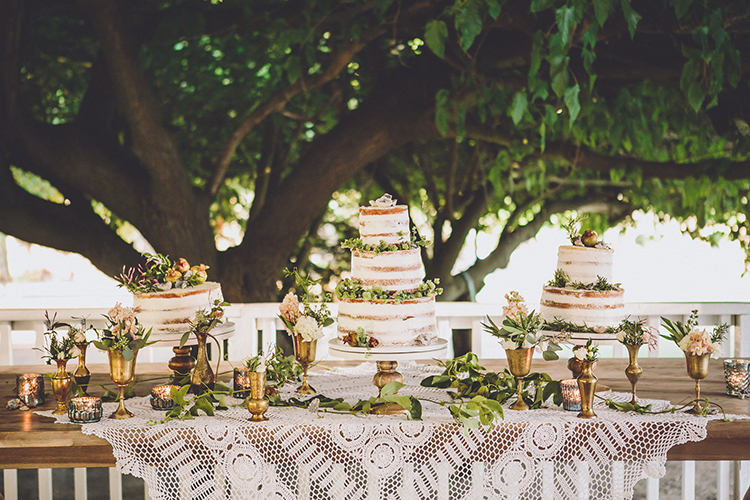 cake tables - photo by Gina and Ryan Photography https://ruffledblog.com/eclectic-bohemian-wedding-at-calamigos-ranch