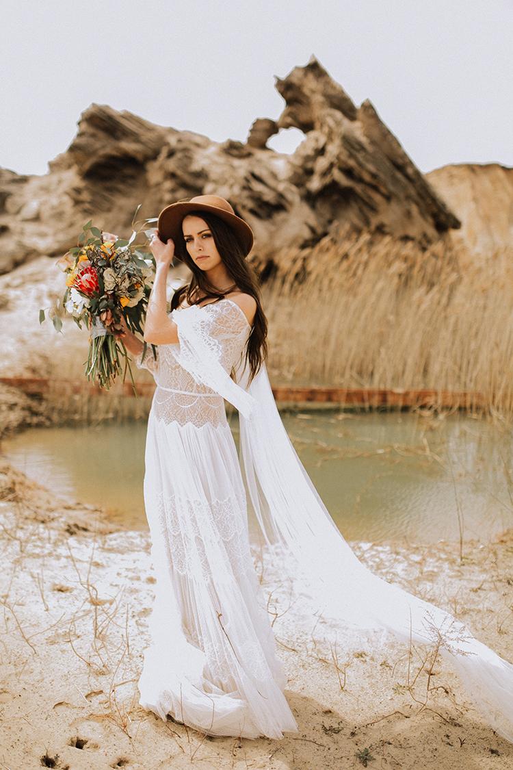 romantic bohemian wedding dresses - photo by Chelsea Seekell Photography https://ruffledblog.com/eclectic-boho-desert-bridal-inspiration