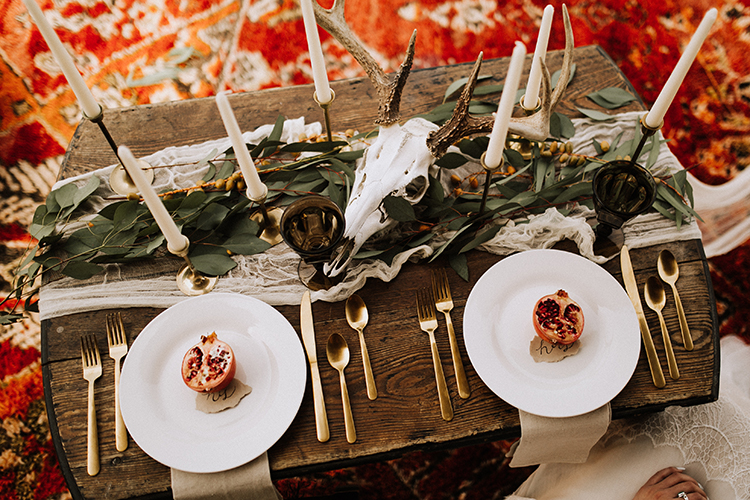 romantic bohemian wedding tablescapes - photo by Chelsea Seekell Photography http://ruffledblog.com/eclectic-boho-desert-bridal-inspiration