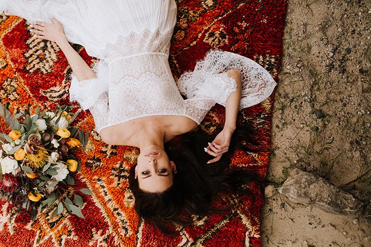 bohemian wedding portraits - photo by Chelsea Seekell Photography https://ruffledblog.com/eclectic-boho-desert-bridal-inspiration