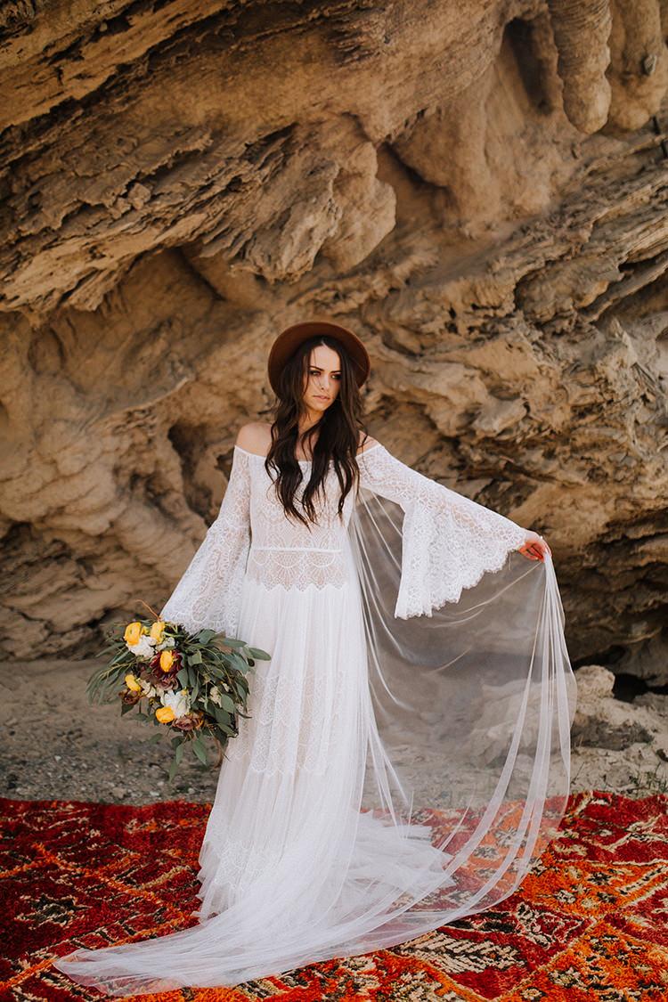 Stevie Nicks inspired wedding dresses - photo by Chelsea Seekell Photography https://ruffledblog.com/eclectic-boho-desert-bridal-inspiration