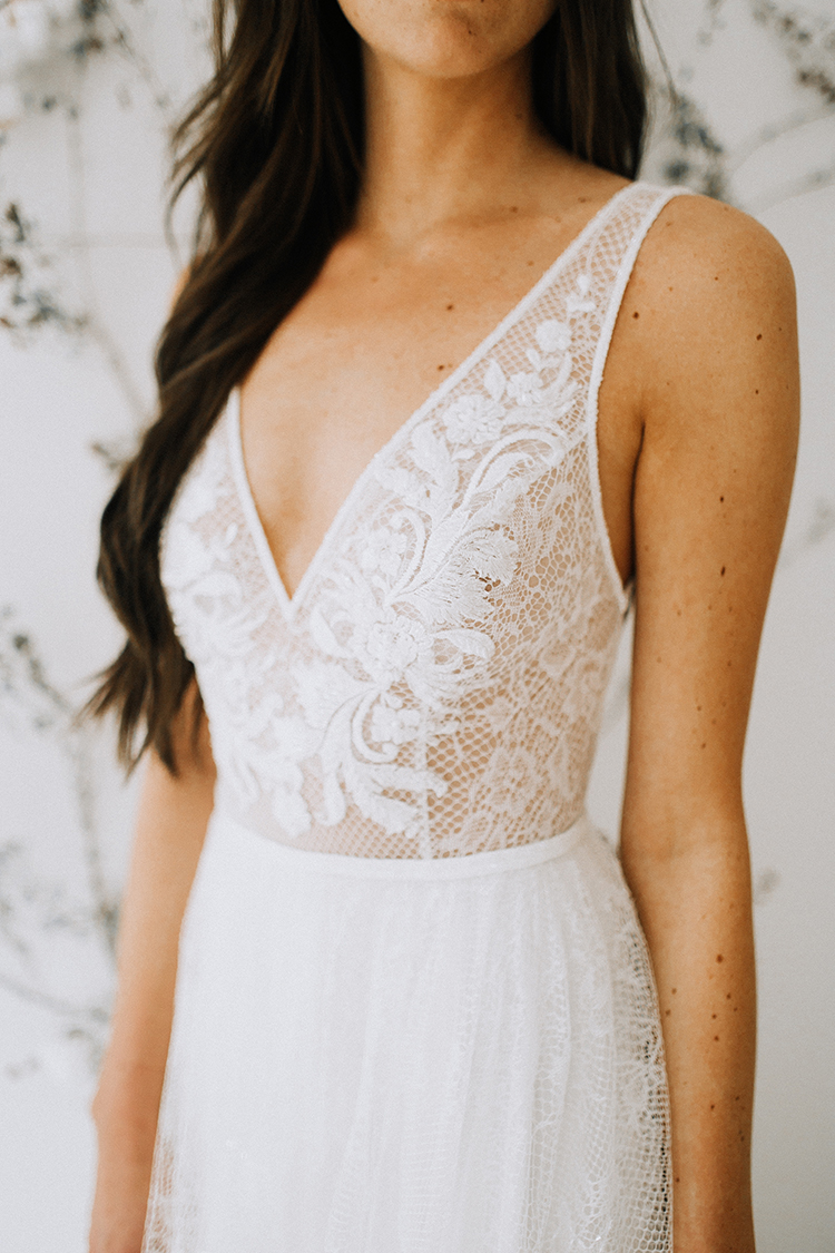 lace bodice wedding dresses - photo by Chelsea Seekell Photography http://ruffledblog.com/eclectic-boho-desert-bridal-inspiration