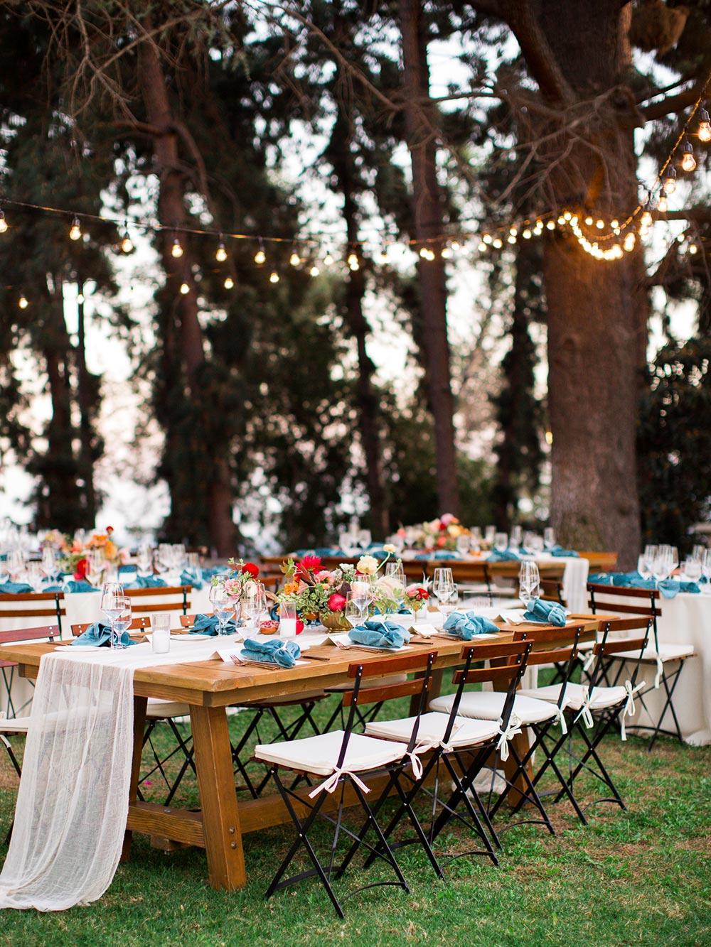 al fresco wedding tables string lights