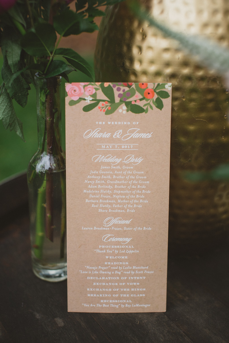 flower illustrated wedding paper goods - https://ruffledblog.com/eclectic-rainy-day-wedding-with-moroccan-accents