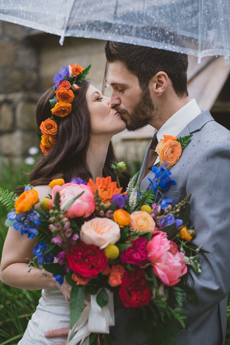 bright wedding flowers - https://ruffledblog.com/eclectic-rainy-day-wedding-with-moroccan-accents