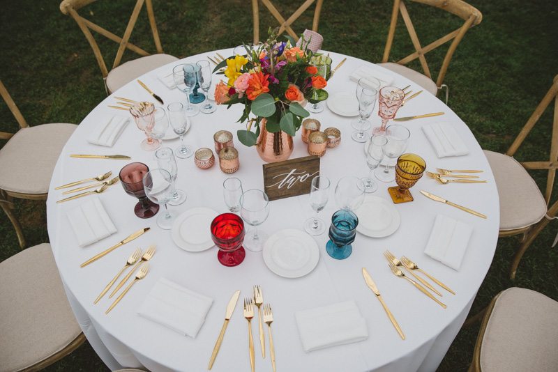 colorful wedding tables - https://ruffledblog.com/eclectic-rainy-day-wedding-with-moroccan-accents
