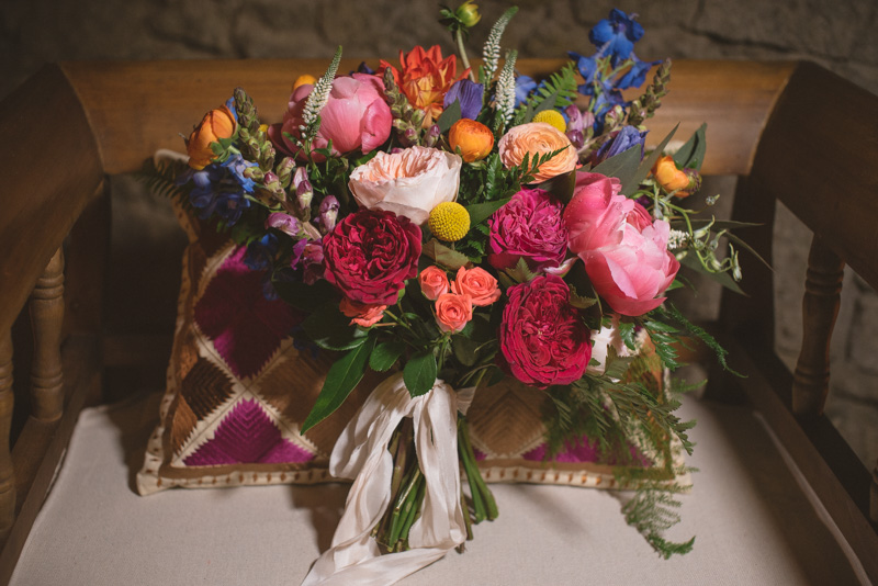 colorful wedding bouquets - https://ruffledblog.com/eclectic-rainy-day-wedding-with-moroccan-accents
