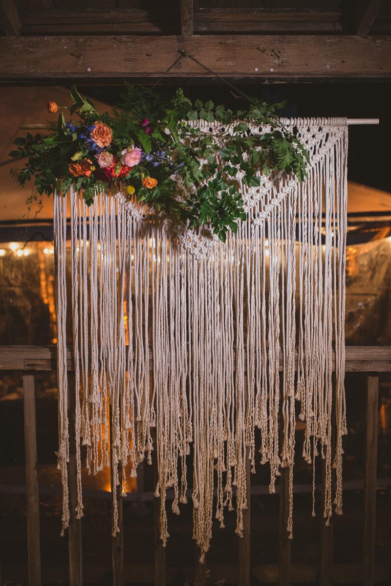 macrame wedding art - https://ruffledblog.com/eclectic-rainy-day-wedding-with-moroccan-accents