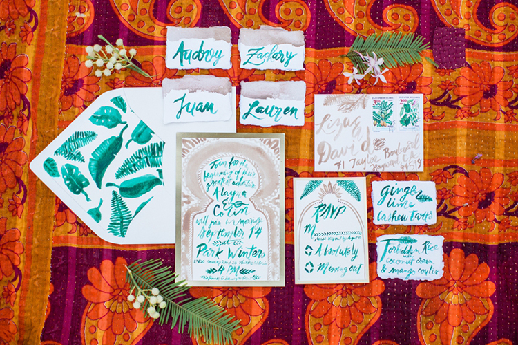 wedding stationery with green calligraphy - photo by Elisabeth Arin Photography http://ruffledblog.com/eclectic-wedding-ideas-inspired-by-wanderlust