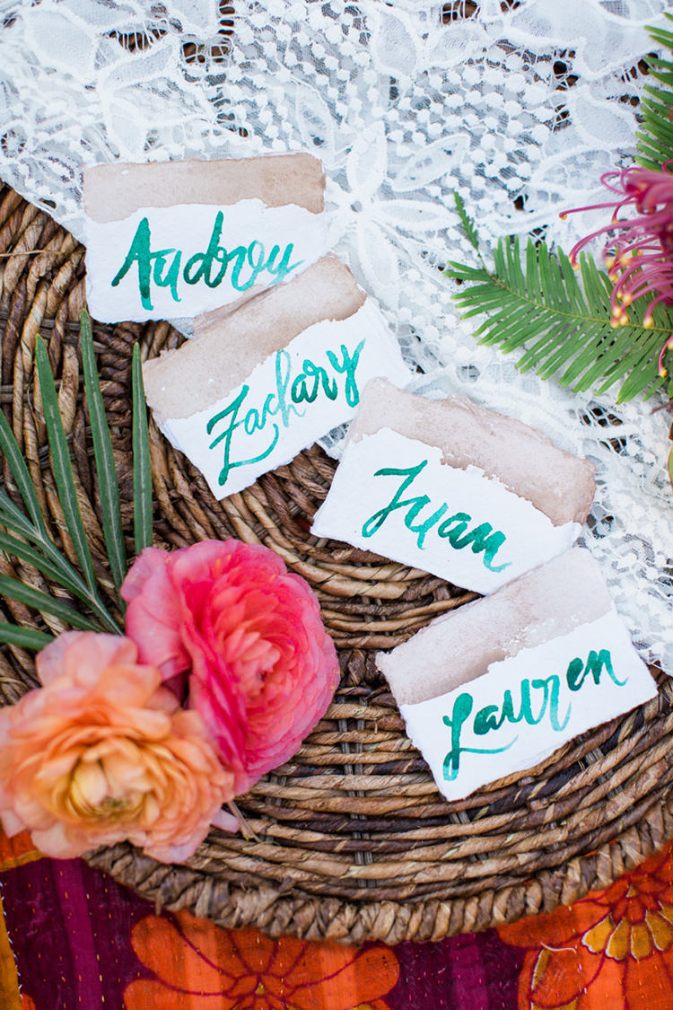 green name cards - photo by Elisabeth Arin Photography http://ruffledblog.com/eclectic-wedding-ideas-inspired-by-wanderlust