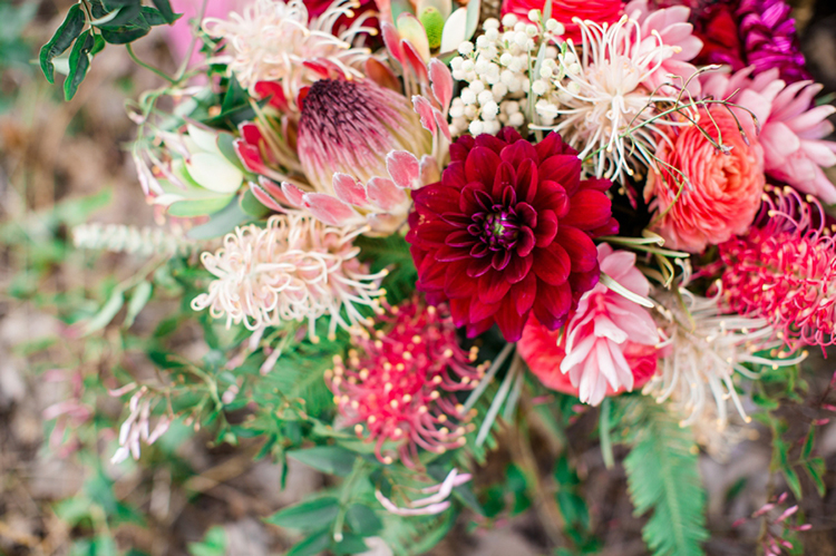 protea wedding bouquets - photo by Elisabeth Arin Photography http://ruffledblog.com/eclectic-wedding-ideas-inspired-by-wanderlust