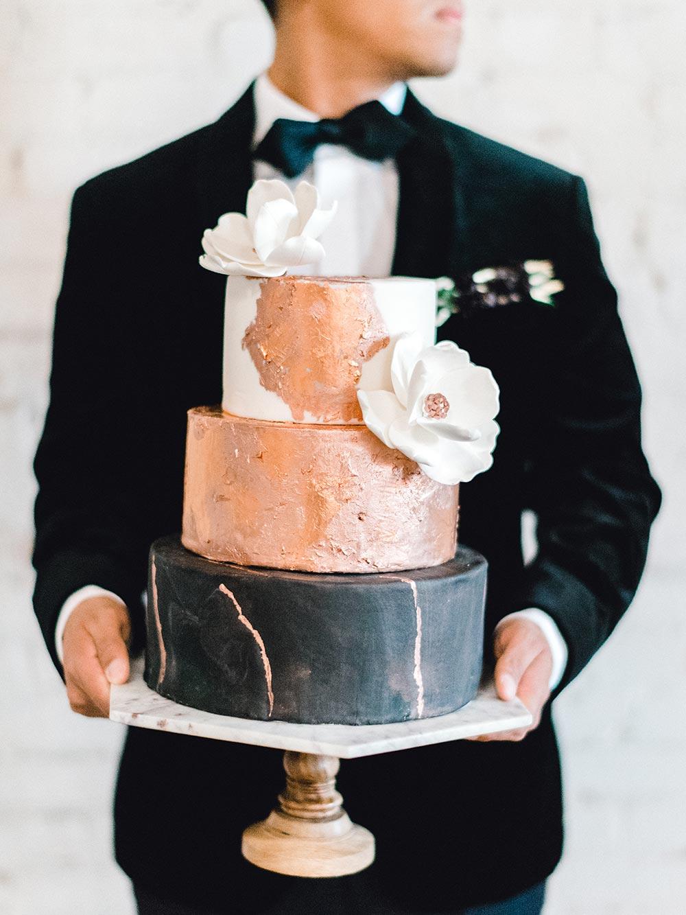copper foil and black wedding cake