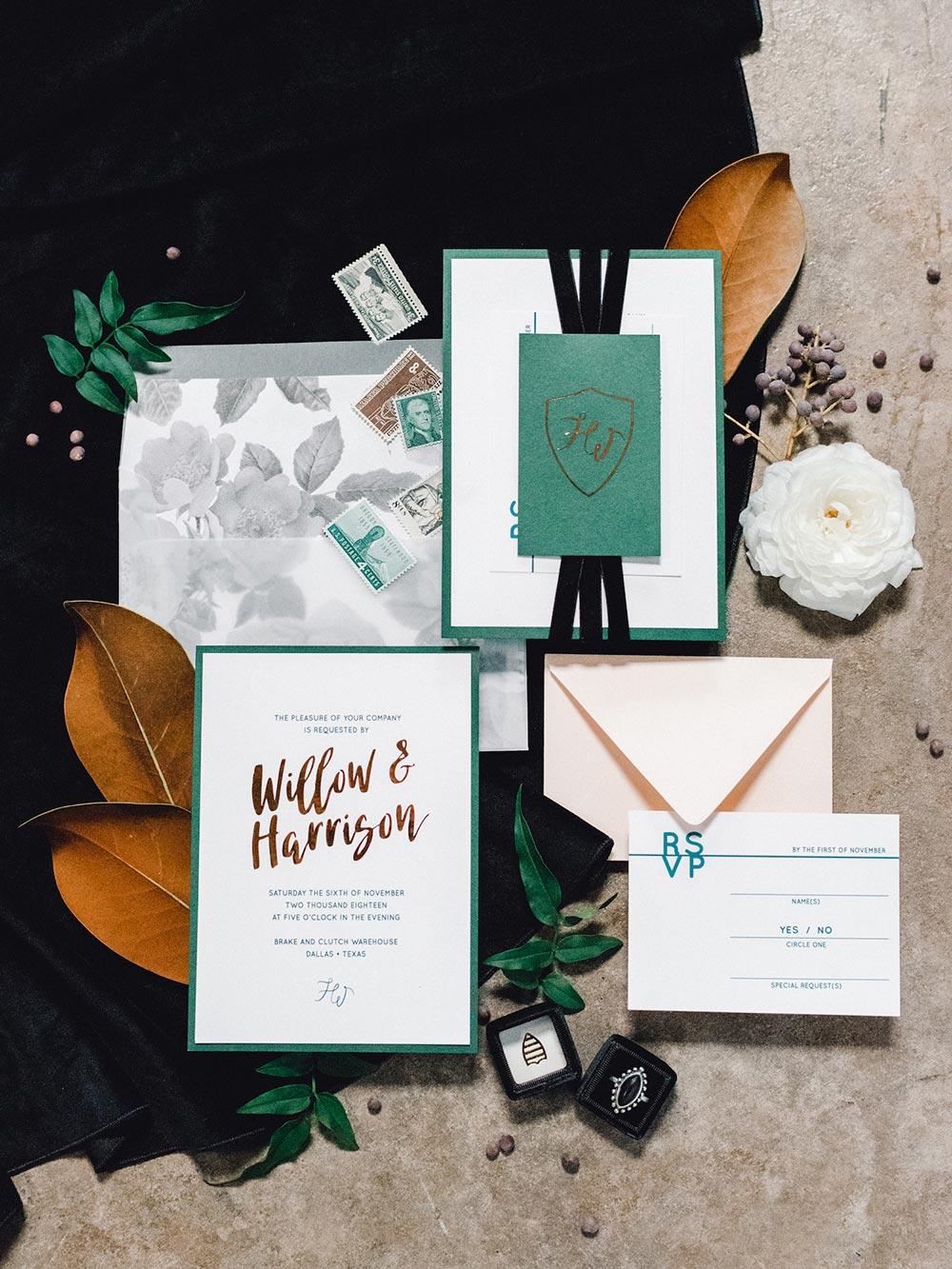 emerald and copper wedding invitation suite