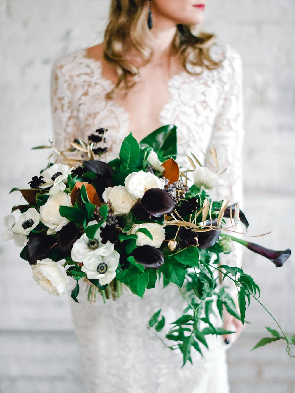 green, black and copper bridal bouquet