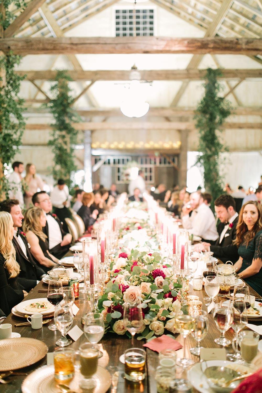 elegant burgundy and beige wedding tablescape