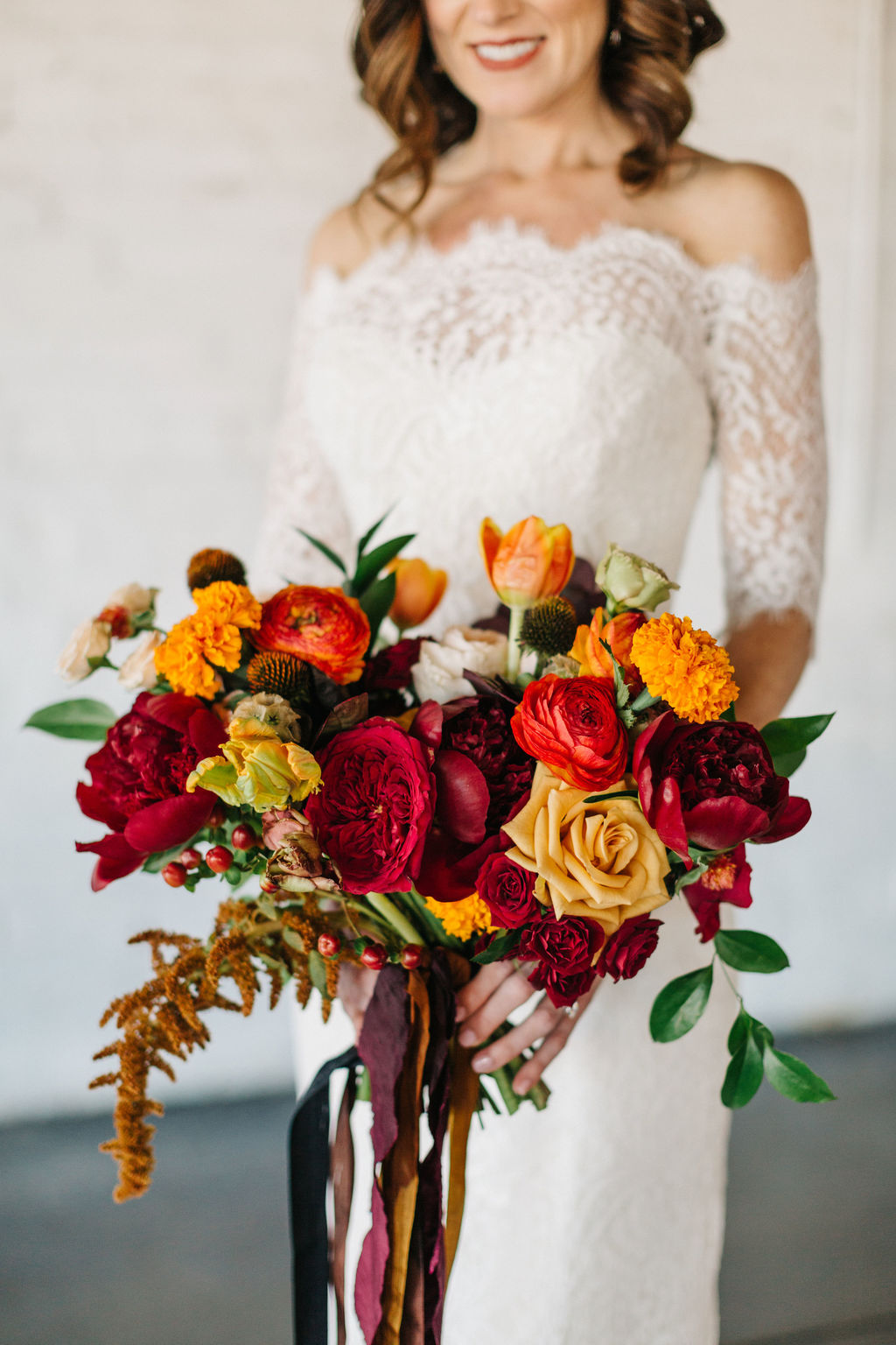 wedding bouquet with striking blooms