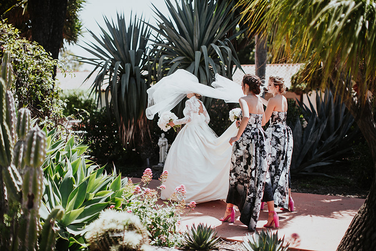 bride and bridesmaids - photo by Alexandra Wallace https://ruffledblog.com/elegant-san-luis-obispo-garden-party-wedding