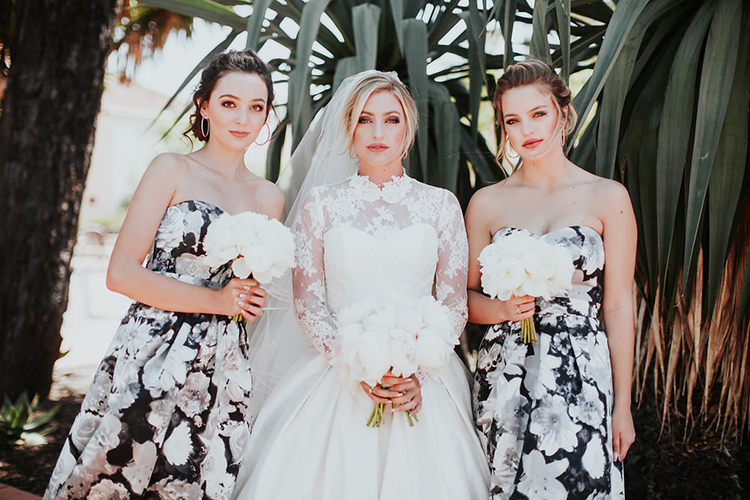 patterned bridesmaid dresses - photo by Alexandra Wallace http://ruffledblog.com/elegant-san-luis-obispo-garden-party-wedding
