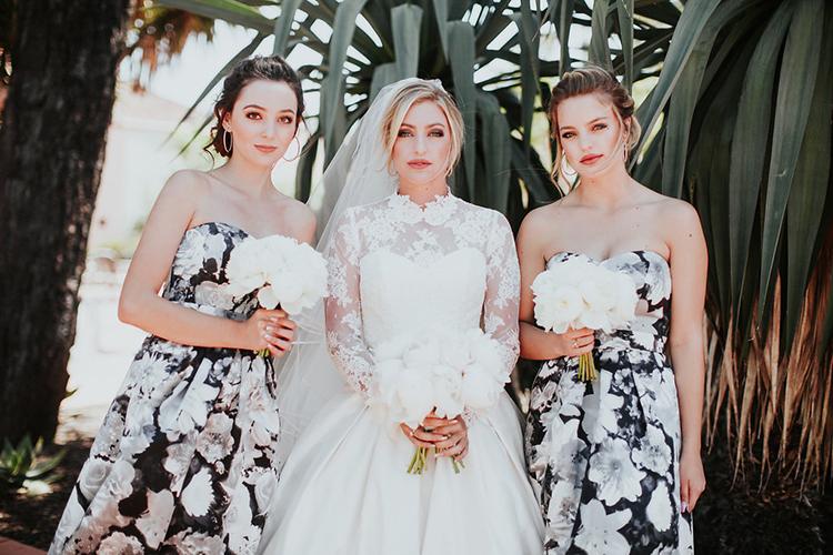 patterned bridesmaid dresses - photo by Alexandra Wallace https://ruffledblog.com/elegant-san-luis-obispo-garden-party-wedding