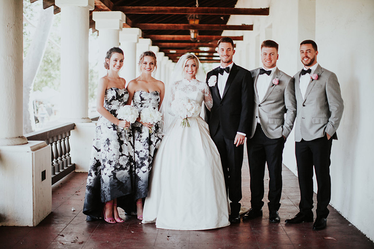 bridesmaid parties with men - photo by Alexandra Wallace https://ruffledblog.com/elegant-san-luis-obispo-garden-party-wedding