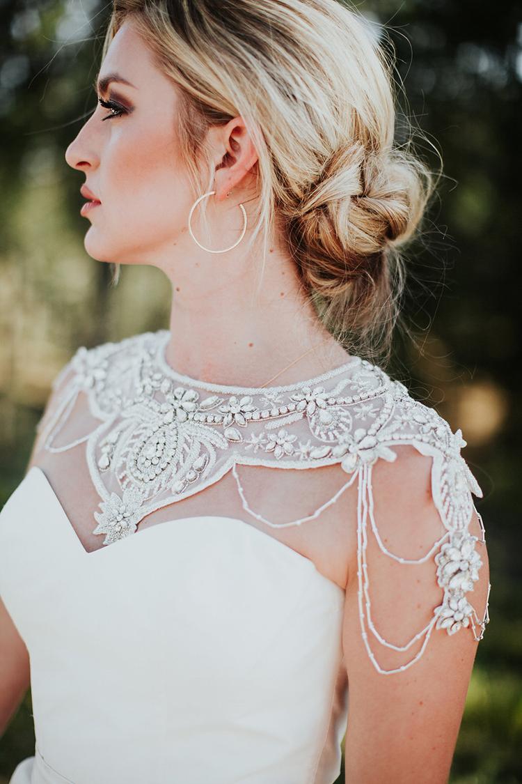 vintage inspired wedding dress details - photo by Alexandra Wallace https://ruffledblog.com/elegant-san-luis-obispo-garden-party-wedding
