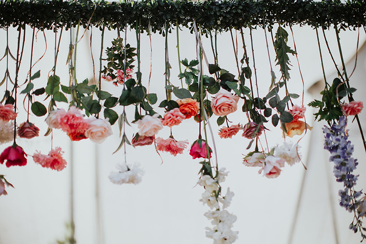 hanging floral inspiration - photo by Alexandra Wallace https://ruffledblog.com/elegant-san-luis-obispo-garden-party-wedding