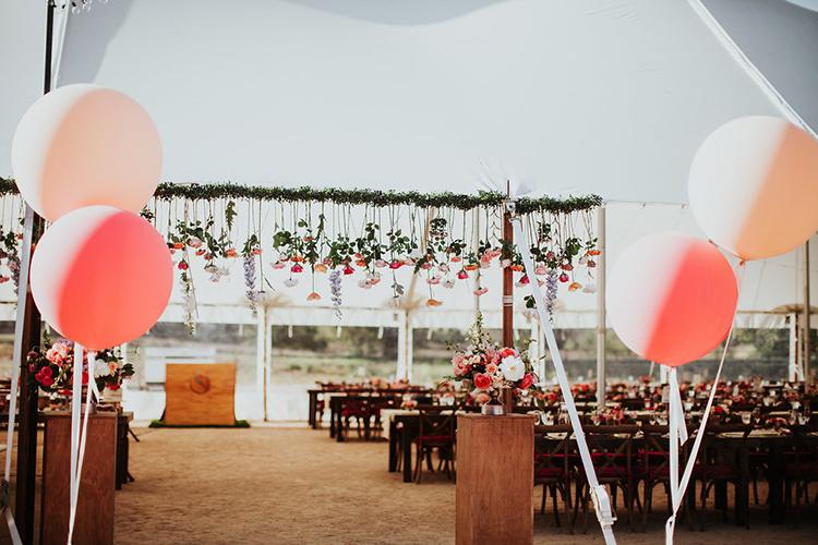 reception entrances - photo by Alexandra Wallace https://ruffledblog.com/elegant-san-luis-obispo-garden-party-wedding
