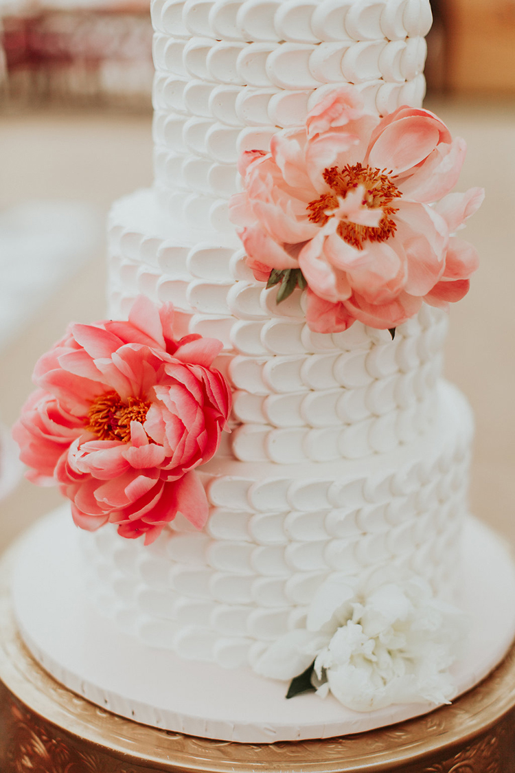 white wedding cakes with peonies - photo by Alexandra Wallace https://ruffledblog.com/elegant-san-luis-obispo-garden-party-wedding