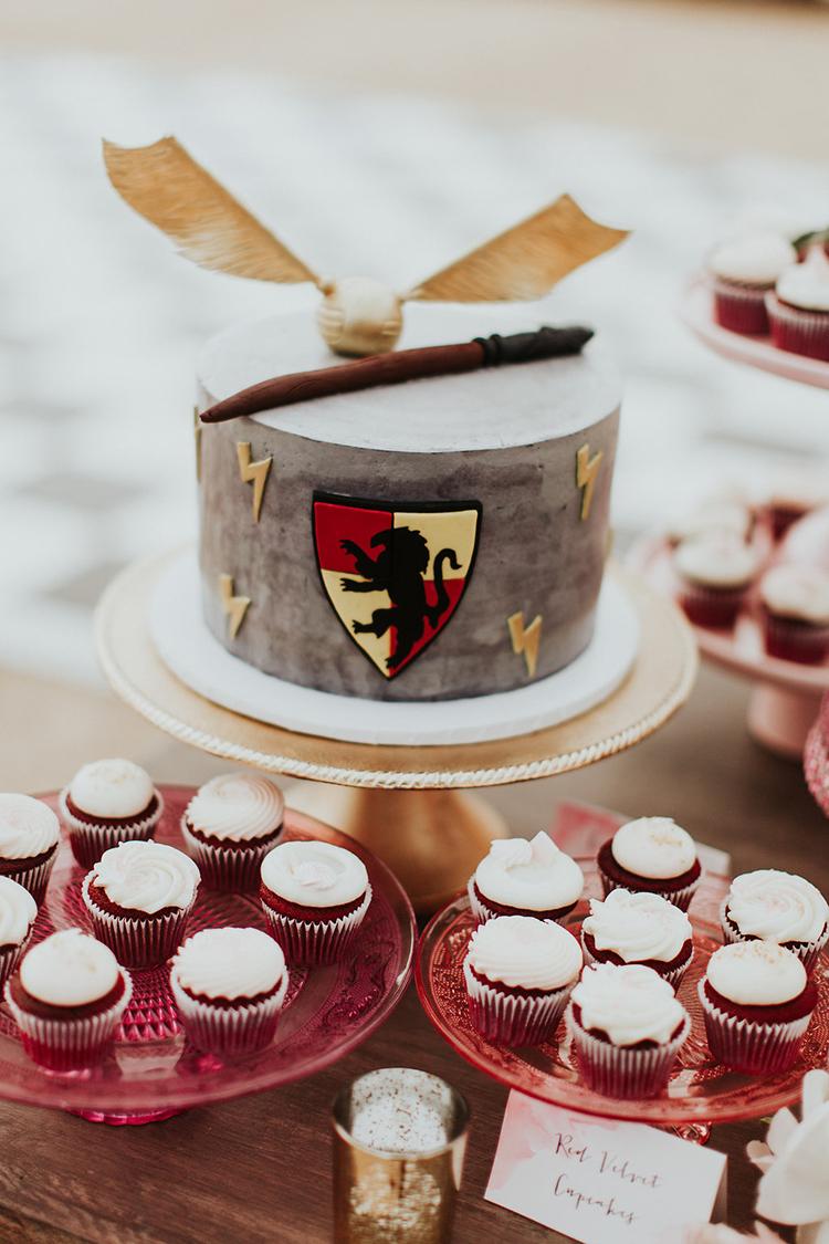 Harry Potter wedding cakes - photo by Alexandra Wallace https://ruffledblog.com/elegant-san-luis-obispo-garden-party-wedding