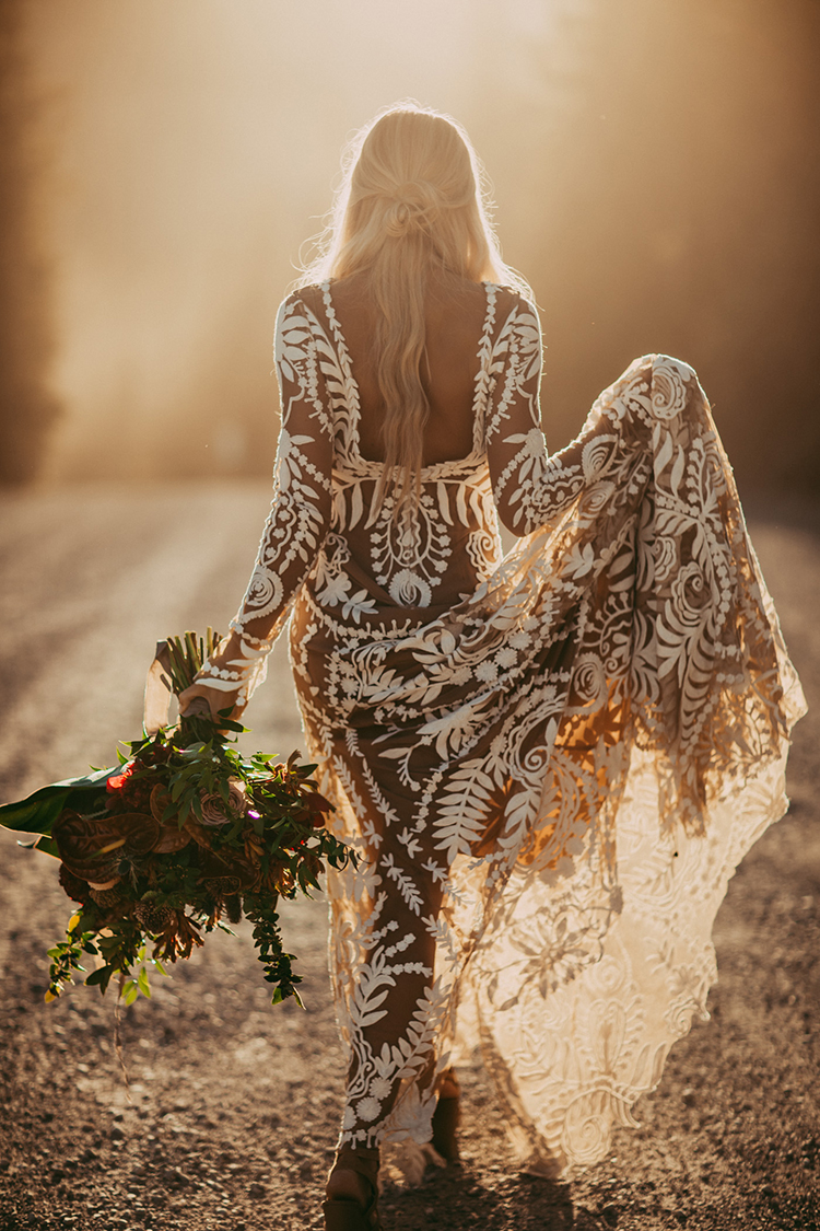 Elopement Inspiration with a Show-Stopping Boho Lace Gown - photo by Tricia Victoria Photography http://ruffledblog.com/elopement-inspiration-with-a-show-stopping-boho-lace-gown