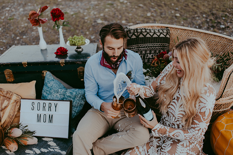 boho elopements - photo by Tricia Victoria Photography http://ruffledblog.com/elopement-inspiration-with-a-show-stopping-boho-lace-gown