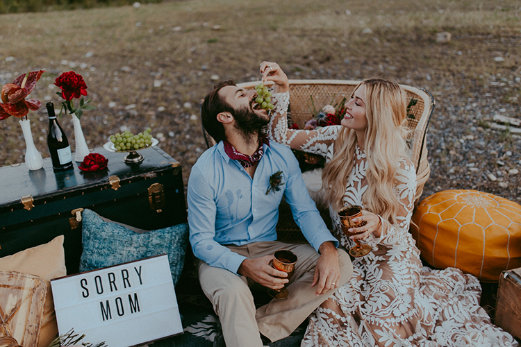 cute elopement inspiration - photo by Tricia Victoria Photography http://ruffledblog.com/elopement-inspiration-with-a-show-stopping-boho-lace-gown