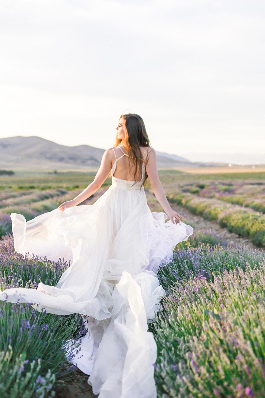 flowy wedding dress in a lavender field