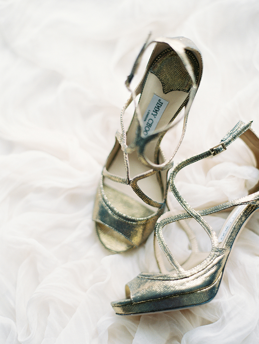 silver Jimmy Choo wedding shoes - photo by Igor Kovchegin Photography https://ruffledblog.com/ethereal-wedding-inspiration-with-teal-and-marigold