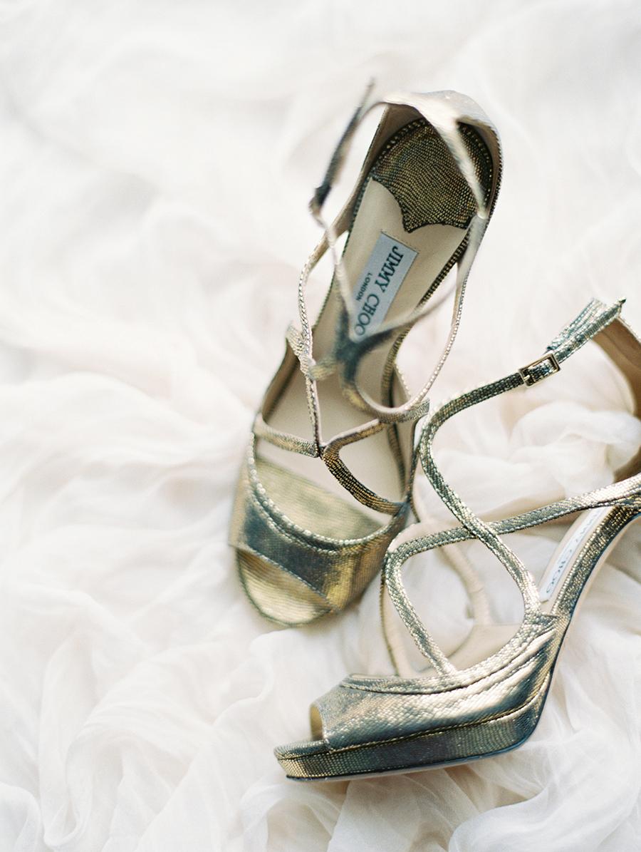 silver Jimmy Choo wedding shoes - photo by Igor Kovchegin Photography http://ruffledblog.com/ethereal-wedding-inspiration-with-teal-and-marigold