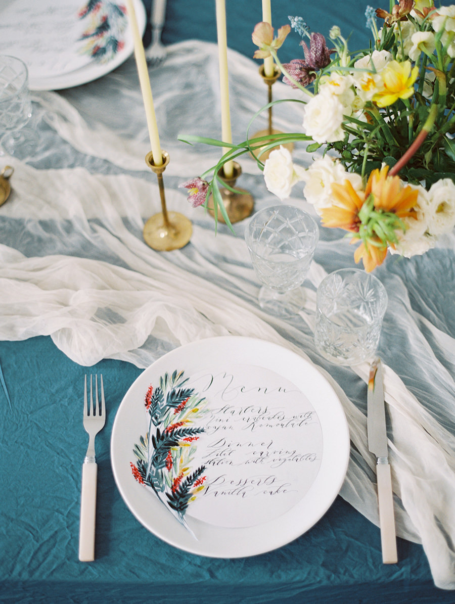 unique wedding colors - photo by Igor Kovchegin Photography https://ruffledblog.com/ethereal-wedding-inspiration-with-teal-and-marigold