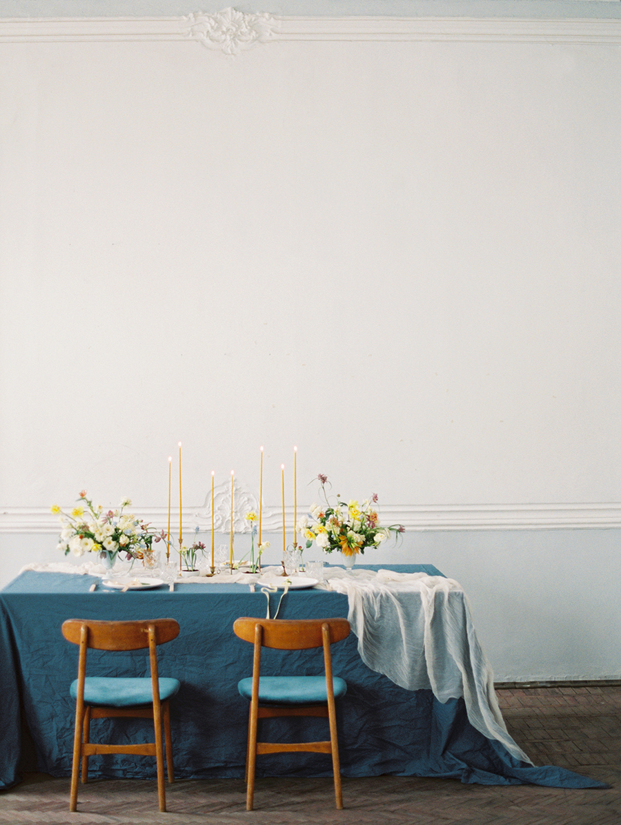 blue and yellow wedding ideas - photo by Igor Kovchegin Photography https://ruffledblog.com/ethereal-wedding-inspiration-with-teal-and-marigold