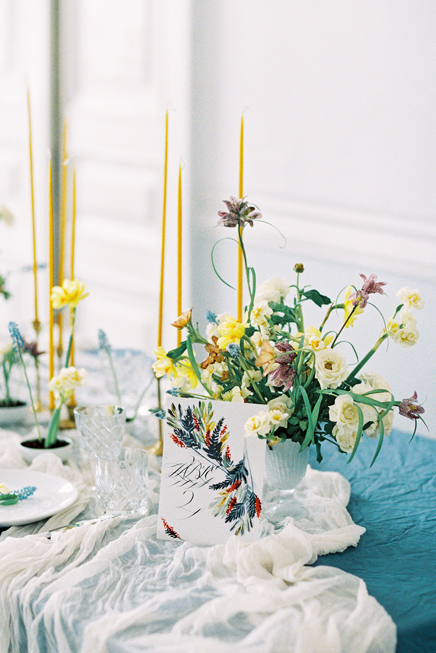 yellow and blue weddings - photo by Igor Kovchegin Photography http://ruffledblog.com/ethereal-wedding-inspiration-with-teal-and-marigold