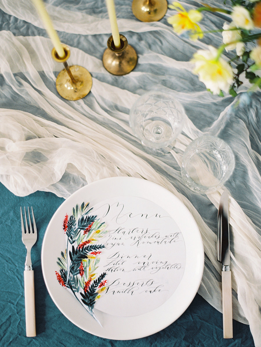fun summer wedding colors - photo by Igor Kovchegin Photography http://ruffledblog.com/ethereal-wedding-inspiration-with-teal-and-marigold