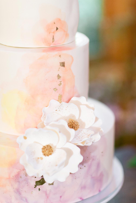pink watercolor brushstroke wedding cake