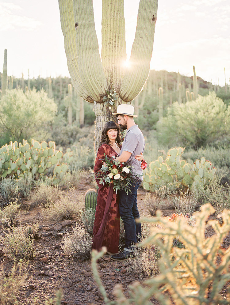 Fall Desert Elopement Inspiration with Burgundy and Lavender - https://ruffledblog.com/fall-desert-elopement-inspiration-with-burgundy-and-lavender