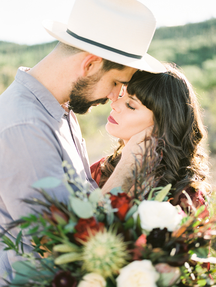 romantic desert wedding elopements - https://ruffledblog.com/fall-desert-elopement-inspiration-with-burgundy-and-lavender