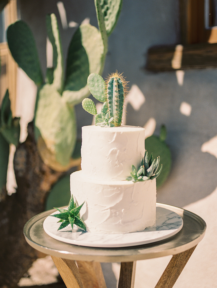 desert wedding cakes with cactus - https://ruffledblog.com/fall-desert-elopement-inspiration-with-burgundy-and-lavender