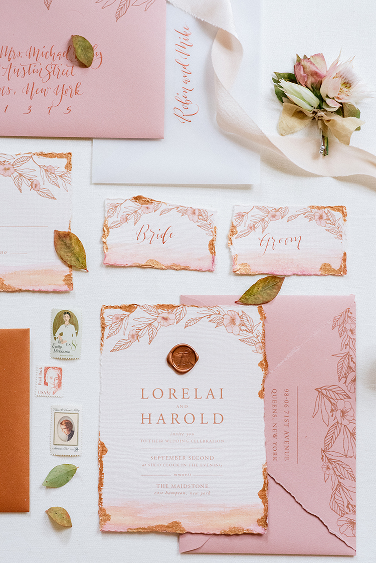 peach and copper wedding invitations - http://ruffledblog.com/fall-wedding-inspiration-with-mauve-and-apricot-hues