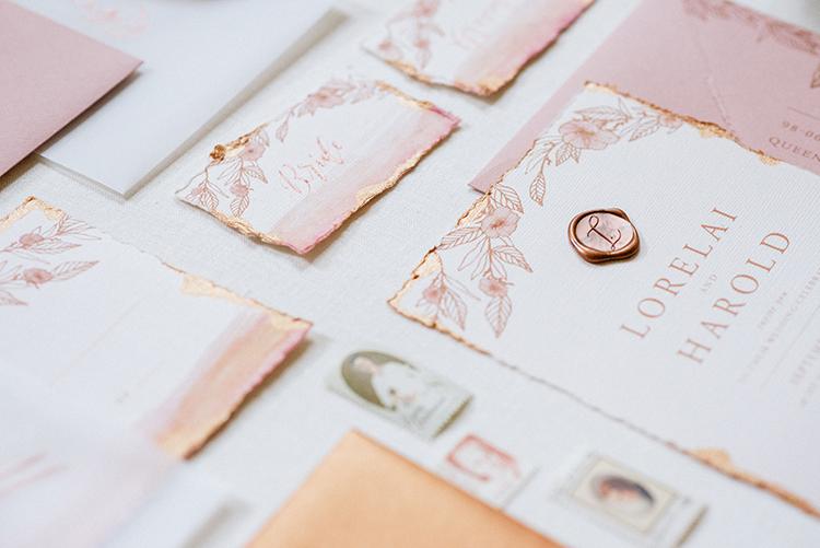 romantic peach wedding invitations - http://ruffledblog.com/fall-wedding-inspiration-with-mauve-and-apricot-hues