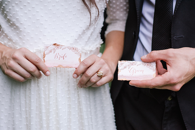 pink and copper wedding paper goods - http://ruffledblog.com/fall-wedding-inspiration-with-mauve-and-apricot-hues