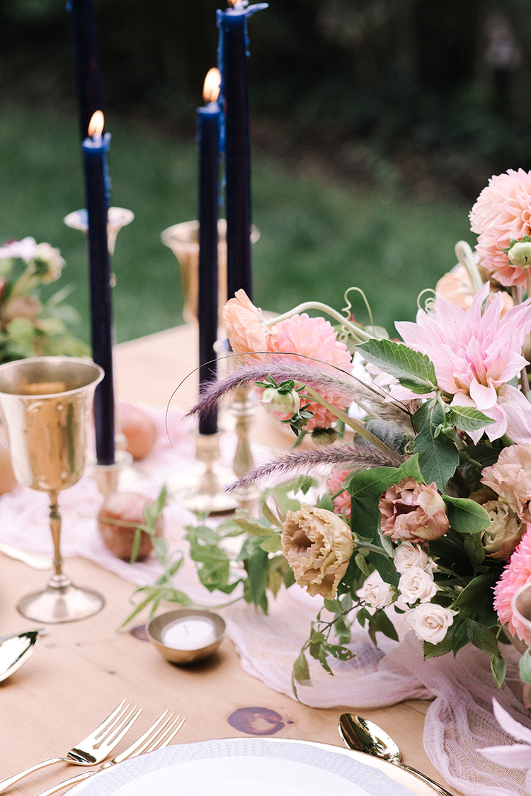 beautiful pink tablescapes with blue accents - http://ruffledblog.com/fall-wedding-inspiration-with-mauve-and-apricot-hues