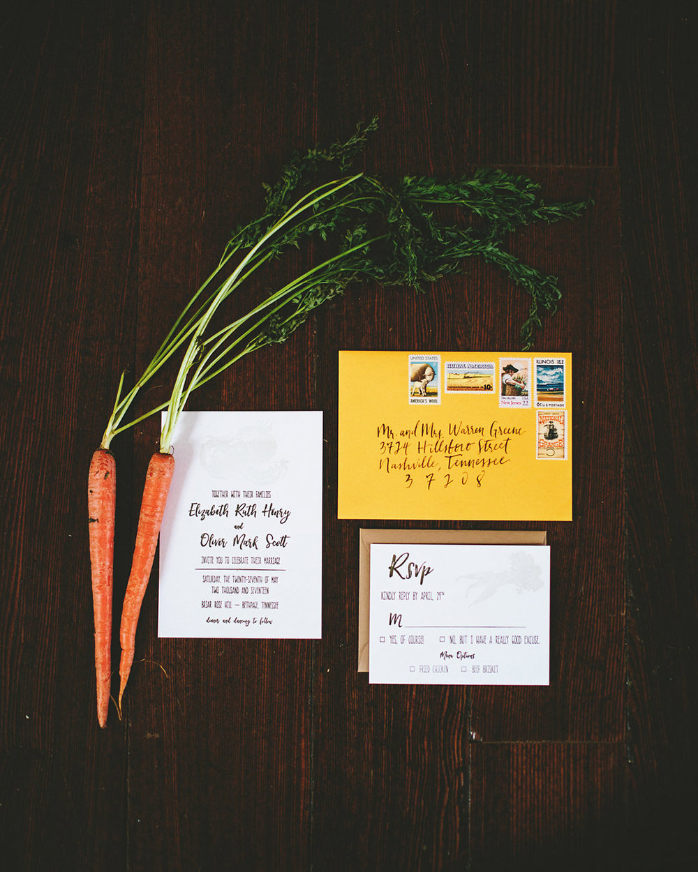farm wedding invitations - photo by Shots by Cheyenne https://ruffledblog.com/farm-to-table-wedding-inspiration-in-nashville