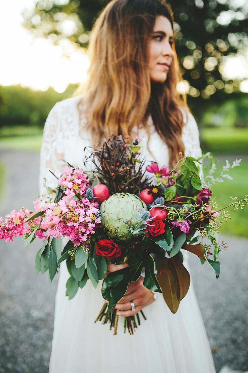 farm wedding bouquets with vegetables - photo by Shots by Cheyenne http://ruffledblog.com/farm-to-table-wedding-inspiration-in-nashville
