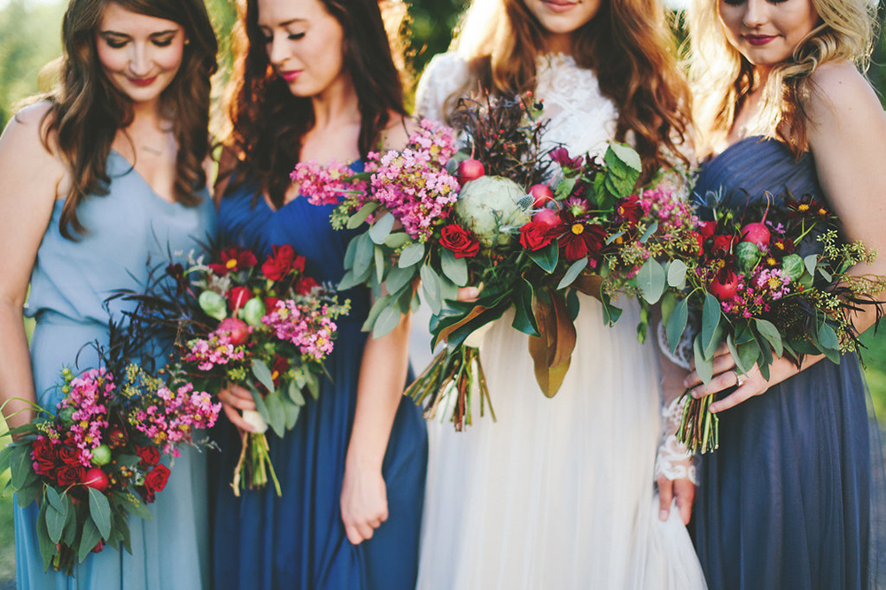 wedding bouquets with fuchsia and vegetables - photo by Shots by Cheyenne https://ruffledblog.com/farm-to-table-wedding-inspiration-in-nashville